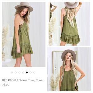 NWT Free People Sweet Thing Mini Dress Tunic Moss